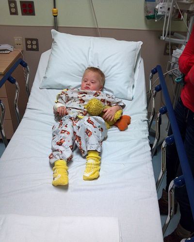 Treyton and Big Bird are ready to go into surgery together for a second time.